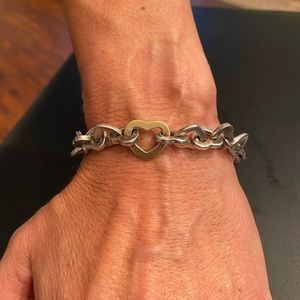 Tiffany & Co.  Silver and gold heart bracelet